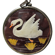 early Deco Sterling Crystal Feather Art Pendant Swan Song Bird reversible