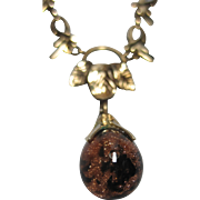 1930-50s Curtis Creations CC marked gold filled Floating onyx gold stone Necklace pendant unusual ornate