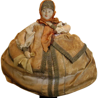 early Russian Tea Cozy Doll painted features