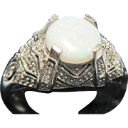 Large 10k White Gold Diamond Opal Filigree Ring