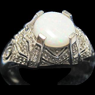 Large 10k White Gold Diamond Opal Filigree Ring