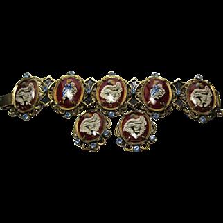 Rare 1960s Cancan Girls reverse paint link Bracelet Earrings