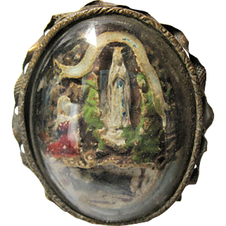 19th c French Meerschaum St. Bernadette Blessed Mother Grotto Shrine