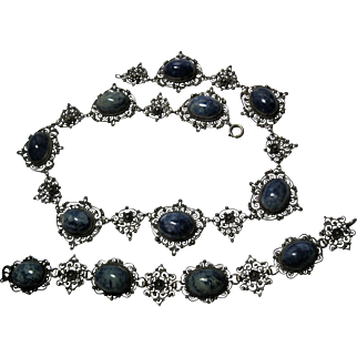 Deco 800 Silver Etruscan Filigree Sodalite Necklace and Bracelet Italy