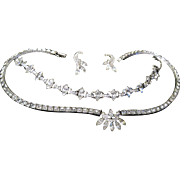 1950s Engel Brothers Sterling paste Rhinestone set necklace bracelet earrings original box EB