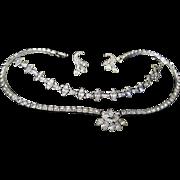 1950s Engel Brothers Sterling paste Rhinestone set necklace bracelet earrings original box EB