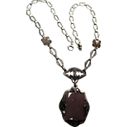 Deco Edwardian Sterling Marcasite Chalcedony filigree Necklace pendant