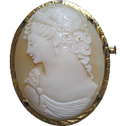 Stunning Goddess Cameo Brooch pin detailed Earrings Crown Ceres