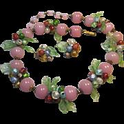 Impressive early Italy Made Venetian foil glass bead Flowers Berries Leaves Necklace Earrings Italian