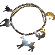 Southwestern Sterling signed CHAVEZ Fetish Necklace 5 animals Howling Wolf