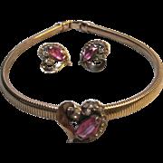 Retro 1940s Sterling Vermeil Snake Chain Heart choker Necklace Earrings rhinestones