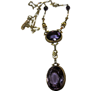Antique Victorian 14k Amethyst Pendant Necklace
