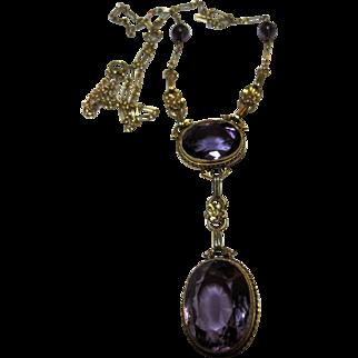 Antique Victorian 14k Amethyst Pendant Necklace