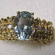 estate 14kt Aquamarine and Diamond Ring sz 6 1/2