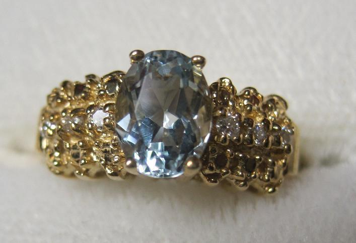 estate 14kt Aquamarine and Diamond Ring sz 6 1/2