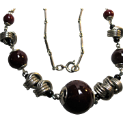 Deco Machine Age Germany Chrome & Glass Bead Necklace Bengel
