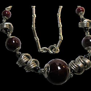 Deco Machine Age Germany Chrome & Glass Bead Necklace Bengel