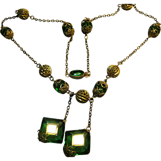 Deco Czech signed Brass Glass Filigree Vauxhall Glass Necklace