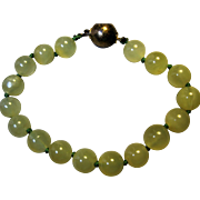 China Chinese Export Jade Jadeite Agate Bead Bracelet 800 silver