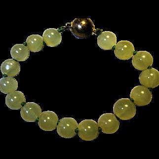 China Chinese Export Jade Jadeite Agate Bead Bracelet 800 silver