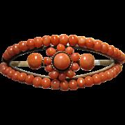 Lovely Antique Victorian natural Coral Bracelet hinged gold filled