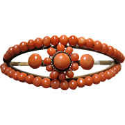 Lovely Antique Victorian natural Coral Bracelet hinged gold filled