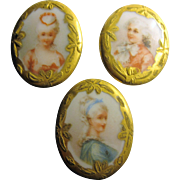three Victorian hand painted Porcelain buttons studs