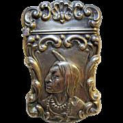 early 1900s ornate Nouveau Gilbert Sterling Native American Indian Matchsafe Vesta