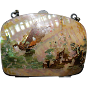 cute early MOP Mother of Pearl tiny coin change purse souvenir