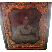 antique Ambrotype image Young Lady holding  Ambrotype Case