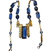 vintage Art Deco signed Czech Blue Crystal Glass Brass Necklace strong design