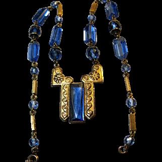 vintage Art Deco signed Czech Blue Crystal Glass Brass Necklace strong design