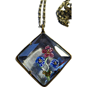 early Millefiori Czech glass Brass Necklace Pendant