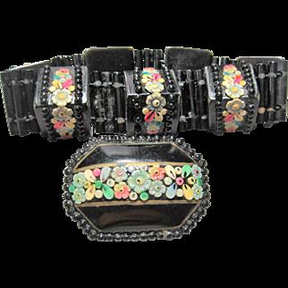 1920s Flapper Art Deco black washed Celluloid Bracelet & Brooch set Applied Flowers