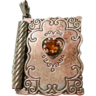 adorable Sterling 925 mechanical Greeting Card Charm ~With Love~