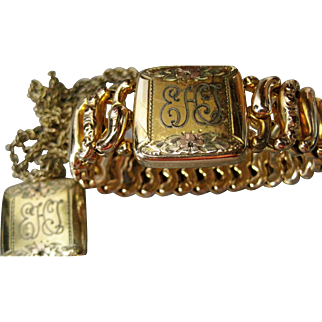 Pitman & Keeler American Queen Sweetheart Expansion Bracelet w/ matching Locket gold filled tri-color