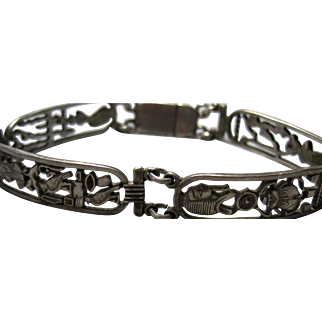 Sterling Egyptian Revival Bracelet Tut Nefertiti Cleopatra