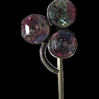 antique Sterling Iris Glass Bohemian rainbow glass Clover stick pin stickpin