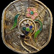 early detailed Silver Filigree Enamel Straw Hat Brooch pin Flowers