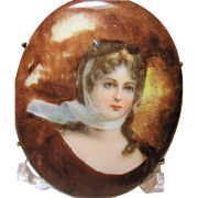 1900s antique Queen Louise portrait brooch porcelain unusual