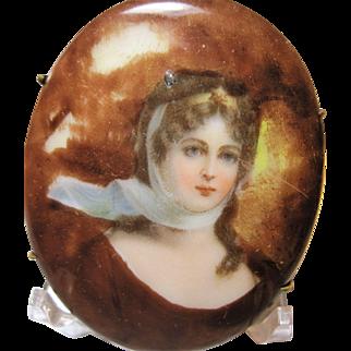 1900s antique Queen Louise portrait brooch porcelain unusual