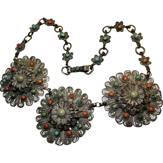 antique China Export Chinese hand crafted Filigree Necklace Turquoise Coral