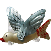 large vintage Moonglow plastic celluloid Bird Brooch paint accents
