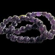Beautiful early Amethyst Bead Necklace deep color John Wanamaker