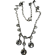 Edwardian Sterling Crystal Drops Necklace Classic open back