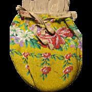large antique micro bead Yellow Rose beaded Purse Bag