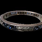 vintage ART DECO Sterling Channel Set crystal rhinestone hinged Bangle Bracelet Sapphire Clear