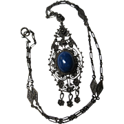 early 1900s antique Italy Sterling cannetille Filigree Lapis Necklace Pendant