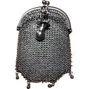 antique Sterling Silver Doll Coin or Chatelaine mesh purse with Pacifier charm