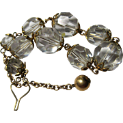 vintage Crystal Beads gold filled Bracelet weighted catch